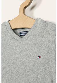 Szary t-shirt TOMMY HILFIGER casualowy, na co dzień, gładki