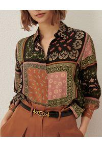 Marella - MARELLA - Jedwabna koszula Ballo. Kolor: brązowy. Materiał: jedwab. Długość rękawa: długi rękaw. Długość: długie. Wzór: nadruk. Sezon: jesień