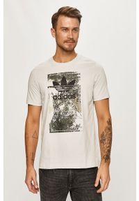 Szary t-shirt adidas Originals na co dzień, z okrągłym kołnierzem, z nadrukiem