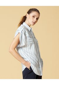 Manila Grace - MANILA GRACE - Koszula w paski. Typ kołnierza: kołnierzyk klasyczny. Kolor: biały. Materiał: tkanina, wiskoza, jeans. Wzór: paski. Styl: klasyczny
