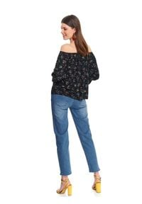 TOP SECRET - Printowana bluzka damska z bufiastymi rękawami. Okazja: na imprezę. Kolor: czarny. Materiał: wiskoza, jeans. Wzór: gładki, kwiaty, nadruk. Sezon: jesień. Styl: elegancki, klasyczny