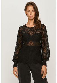 Czarna bluzka Morgan z długim rękawem, w koronkowe wzory, długa, casualowa