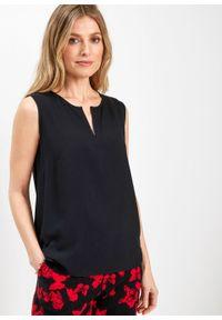Bluzka bez rękawów z wiskozy bonprix czarny. Kolor: czarny. Materiał: wiskoza. Długość rękawa: bez rękawów