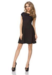 Tessita - Czarna Sukienka Klasyczna Rozkloszowana z Mini Rękawkiem. Kolor: czarny. Materiał: bawełna, poliester, elastan. Długość rękawa: krótki rękaw. Styl: klasyczny. Długość: mini