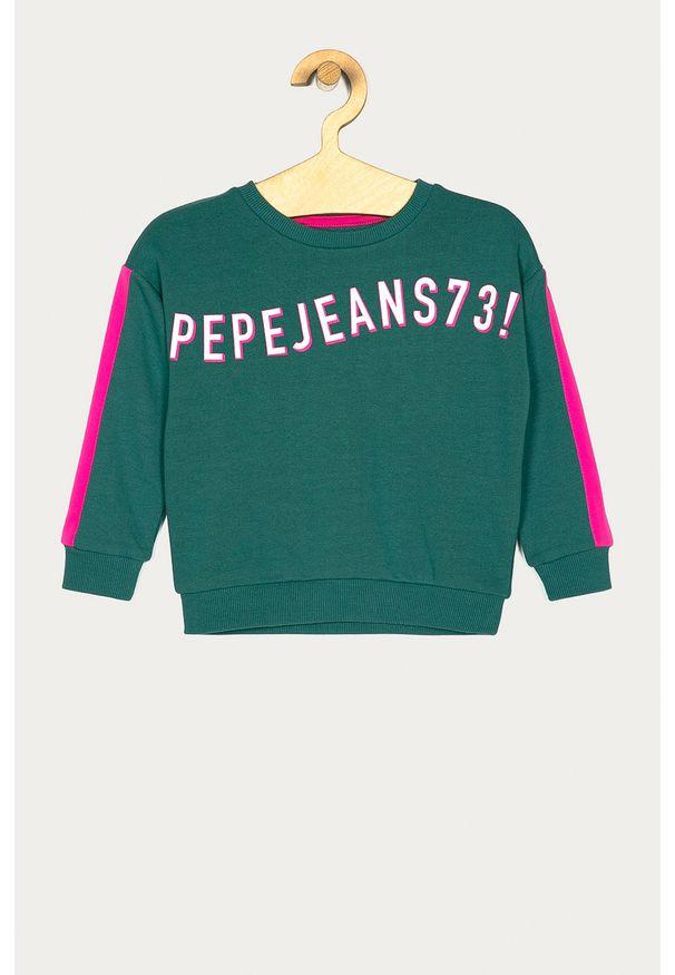 Miętowa bluza Pepe Jeans casualowa, bez kaptura, na co dzień