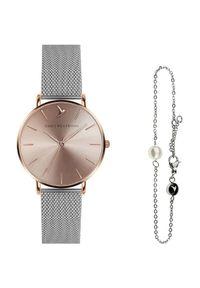 Emily Westwood Sunray Silver Mesh & Mini Pearl Bracelet EWS010. Materiał: mesh