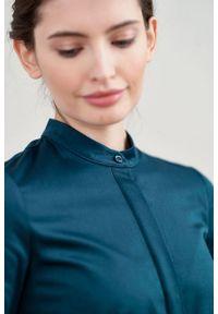 Marie Zélie - Sukienka Aglaia bawełna z elastanem zieleń. Typ kołnierza: kołnierzyk stójkowy. Materiał: bawełna, elastan
