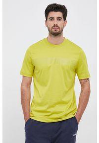 BOSS - Boss - T-shirt. Kolor: zielony. Materiał: dzianina, materiał. Wzór: nadruk