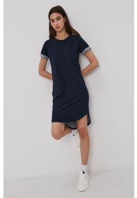 Jacqueline de Yong - Sukienka. Okazja: na co dzień. Kolor: niebieski. Materiał: dzianina, bawełna. Długość rękawa: krótki rękaw. Wzór: gładki. Typ sukienki: proste. Styl: casual