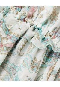 JOANNA MUZYK - Biała sukienka we wzory Cristina Ornaments. Kolor: brązowy. Materiał: tkanina, wiskoza. Wzór: nadruk, haft, kwiaty. Styl: boho, wakacyjny. Długość: maxi