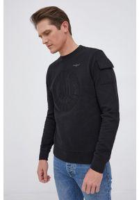 Aeronautica Militare - Bluza bawełniana. Okazja: na co dzień. Kolor: czarny. Materiał: bawełna. Wzór: aplikacja. Styl: casual