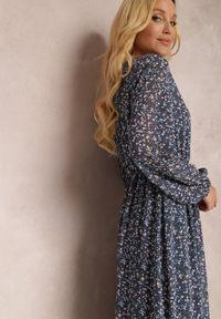 Renee - Granatowa Sukienka Erasakos. Kolor: niebieski. Wzór: kwiaty, aplikacja. Długość: maxi #5