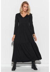 Makadamia - Bawełniana Maxi Sukienka z Dekoltem V - Czarna. Kolor: czarny. Materiał: bawełna. Długość: maxi