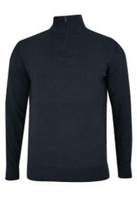 Niebieski sweter Just Yuppi z kołnierzem typu troyer, na zimę, elegancki