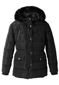 Czarny płaszcz bonprix z kapturem
