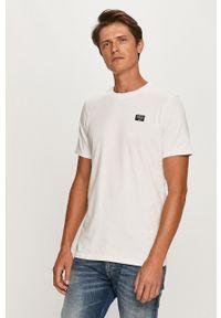 Biały t-shirt Scotch & Soda z okrągłym kołnierzem, casualowy
