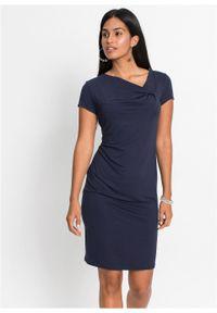 Niebieska sukienka bonprix asymetryczna, z krótkim rękawem, z dekoltem w serek