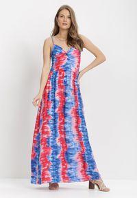 Born2be - Granatowo-Czerwona Sukienka Grynienne. Kolor: niebieski. Materiał: wiskoza. Długość rękawa: na ramiączkach. Wzór: jednolity, aplikacja, kolorowy. Długość: maxi