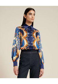 Luisa Spagnoli - LUISA SPAGNOLI - Granatowa koszula z jedwabiu Lenia. Kolor: niebieski. Materiał: jedwab. Długość rękawa: długi rękaw. Długość: długie. Wzór: geometria