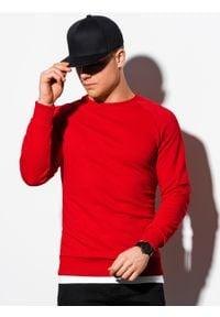 Ombre Clothing - Bluza męska bez kaptura B1217 - czerwona - XXL. Typ kołnierza: bez kaptura. Kolor: czerwony. Materiał: bawełna, poliester