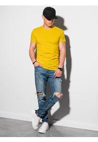 Ombre Clothing - T-shirt męski bawełniany basic S1370 - żółty - XXL. Kolor: żółty. Materiał: bawełna. Styl: klasyczny