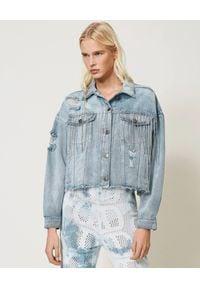 TwinSet - TWINSET - Jeansowa kurtka z frędzlami z kryształów. Kolor: niebieski. Materiał: jeans. Wzór: aplikacja. Sezon: wiosna, lato