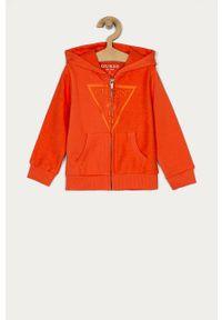Pomarańczowa bluza rozpinana Guess na co dzień, z kapturem, casualowa, z aplikacjami