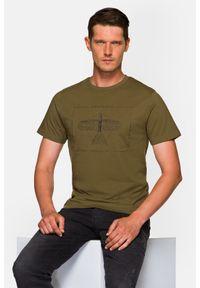 Lancerto - Koszulka Khaki Rory. Okazja: na co dzień. Kolor: brązowy. Materiał: włókno, materiał, bawełna. Wzór: aplikacja, nadruk. Styl: klasyczny, casual, retro