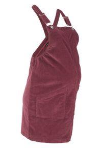 Sukienka ogrodniczka ciążowa sztruksowa bonprix czerwony klonowy. Kolekcja: moda ciążowa. Kolor: czerwony. Materiał: bawełna, sztruks, materiał, elastan. Styl: elegancki