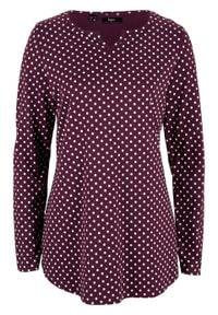 Shirt w kropki, z długim rękawem i rozcięciami po bokach bonprix czarny bez - biały w kropki. Kolor: fioletowy. Długość rękawa: długi rękaw. Długość: długie. Wzór: kropki