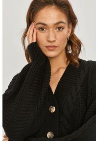 Czarny sweter rozpinany Answear Lab gładki, wakacyjny, z długim rękawem