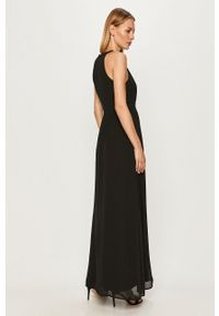 Vila - Sukienka. Kolor: czarny. Materiał: koronka, tkanina. Typ sukienki: rozkloszowane