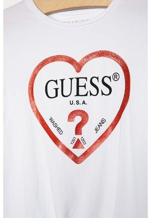 Biała bluzka z długim rękawem Guess Jeans casualowa, z nadrukiem