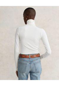 Ralph Lauren - RALPH LAUREN - Biały bawełniany golf Slim fit. Typ kołnierza: golf. Kolor: biały. Materiał: bawełna. Długość rękawa: długi rękaw. Długość: długie