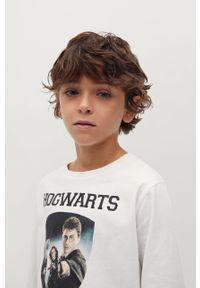 Biała koszulka z długim rękawem Mango Kids z nadrukiem, casualowa