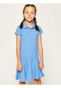 Niebieska sukienka Polo Ralph Lauren casualowa, prosta, polo