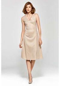 Beżowa sukienka Nife elegancka, midi