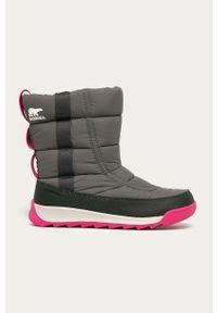 Szare buty zimowe sorel z cholewką, na zimę