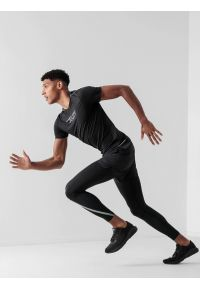 4f - Spodenki do biegania szybkoschące męskie. Kolor: czarny. Materiał: dzianina, skóra. Sport: fitness