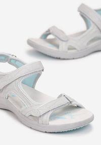 Renee - Szaro-Niebieskie Sandały Prixilis. Zapięcie: rzepy. Kolor: szary. Materiał: skóra. Wzór: paski. Styl: sportowy