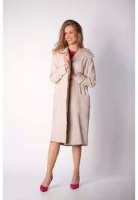 Nommo - Beżowy Kopertowy Płaszcz z Dużymi Kieszeniami. Kolor: beżowy. Materiał: wiskoza, elastan