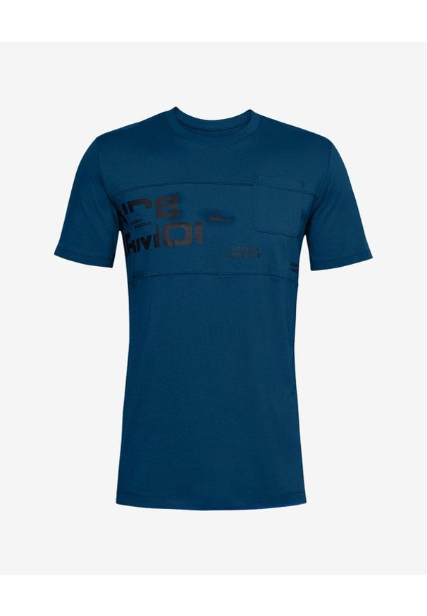 Niebieski t-shirt Under Armour z okrągłym kołnierzem, z nadrukiem
