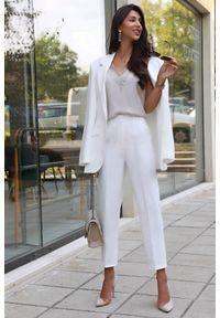 Białe spodnie IVET eleganckie, z podwyższonym stanem, do pracy