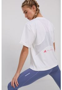 Adidas by Stella McCartney - adidas by Stella McCartney - T-shirt. Okazja: na co dzień. Kolor: biały. Materiał: dzianina, materiał. Wzór: gładki. Styl: casual