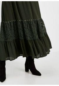 Spódnica z falban bonprix nocny oliwkowy. Kolor: zielony. Materiał: koronka, materiał. Długość: długie