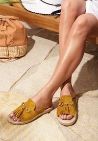 Renee - Żółte Klapki Samba. Kolor: żółty
