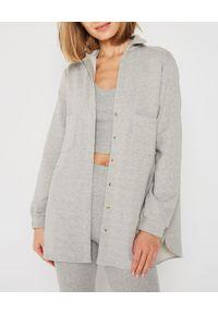 MARLU - Szara koszula oversize. Okazja: na co dzień. Kolor: szary. Materiał: jeans, materiał, bawełna. Styl: sportowy, casual