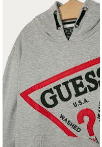 Szara bluza Guess Jeans z kapturem, z aplikacjami