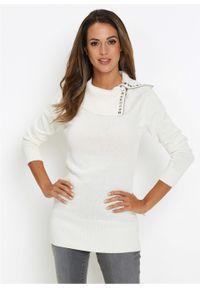 Biały sweter bonprix długi, z golfem