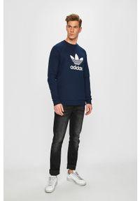 Niebieska bluza nierozpinana adidas Originals raglanowy rękaw, casualowa, na co dzień